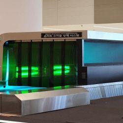 Este es el sistema que implementarán en el aeropuerto internacional de Corea del Sur, Incheon, para desinfectar el equipaje de los viajeros que ingresen al país.