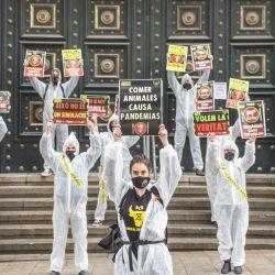 España, Barcelona: manifestantes frente al edificio del Banco de España sosteniendo pancartas durante una manifestación de representantes de Barcelona de Animal Rebellion, un movimiento internacional para la lucha por un sistema alimentario sostenible, la justicia climática y la defensa de los animales, alertar sobre qué comer animales es la causa de las pandemias.   Foto:Thiago Prudencio / SOPA Imágenes vía ZUMA Wire / DPA