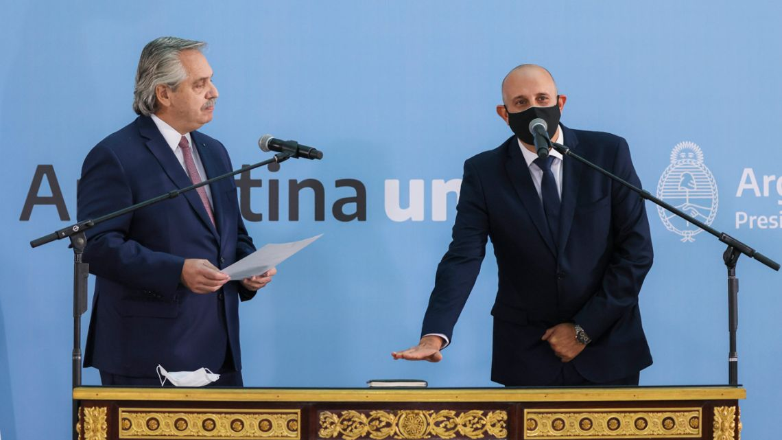 Alexis Guerrera is sworn-in as Argentina's new transport minister by President Alberto Fernández at a ceremony at the Casa Rosada.