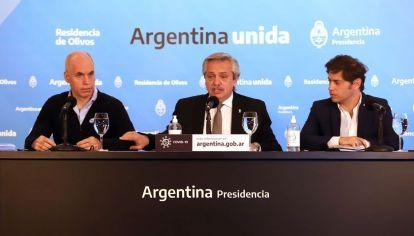 Alberto Fernández, Horacio Rodríguez Larreta y Axel Kicillof.