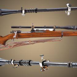 La mira fabricada por J. Unertl para los Springfield 1903, con sus ajustes externos y 10 aumentos, utilizada durante la Segunda Guerra Mundial.
