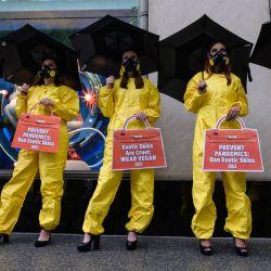 Los partidarios de la organización de derechos de los animales PETA, protestan con tacones y trajes de materiales peligrosos bajo el lema  | Foto:Angela Weiss / AFP