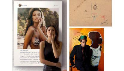 NFT. A la izq., Emily Ratajkowski posando junto a una imagen suya. Al lado, Jean-Michel Basquiat y su Comb with Pagoda.