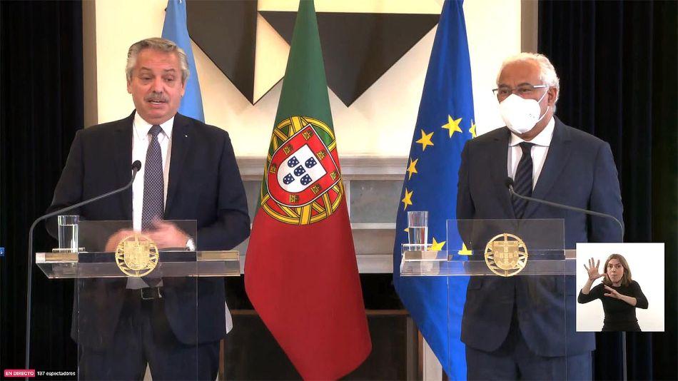 Declaración conjunta del presidente Alberto Fernández y el primer ministro portugués, Antonio Luís Santos Da Costa.  20210510