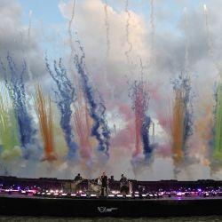 En la imagen distribuida publicada por los Brit Awards, se ve a Coldplay actuando en los BRIT Awards 2021 en Londres.   Foto:John Marshall / AFP