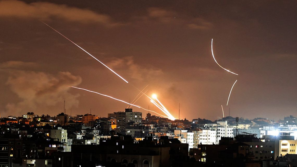 Rockets are launched from Gaza City, controlled by the Palestinian Hamas movement, towards Israel on May 12, 2021, amid the most intense Israeli-Palestinian hostilities in seven years.