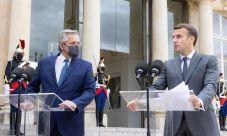 Alberto Fernández junto a Emmanuel Macron.