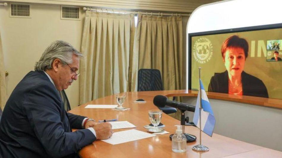 Alberto Fernández con la directora gerente del FMI, Kristalina Georgieva.