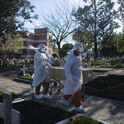 Trabajadores funerarios trasladan el ataúd de una víctima de Covid-19 en un cementerio de la provincia de Buenos Aires, Argentina, mayo del 2021. | Foto:Mario Defina