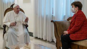 La foto publicada por Georgieva de su encuentro con el papa Francisco, este viernes en Roma.