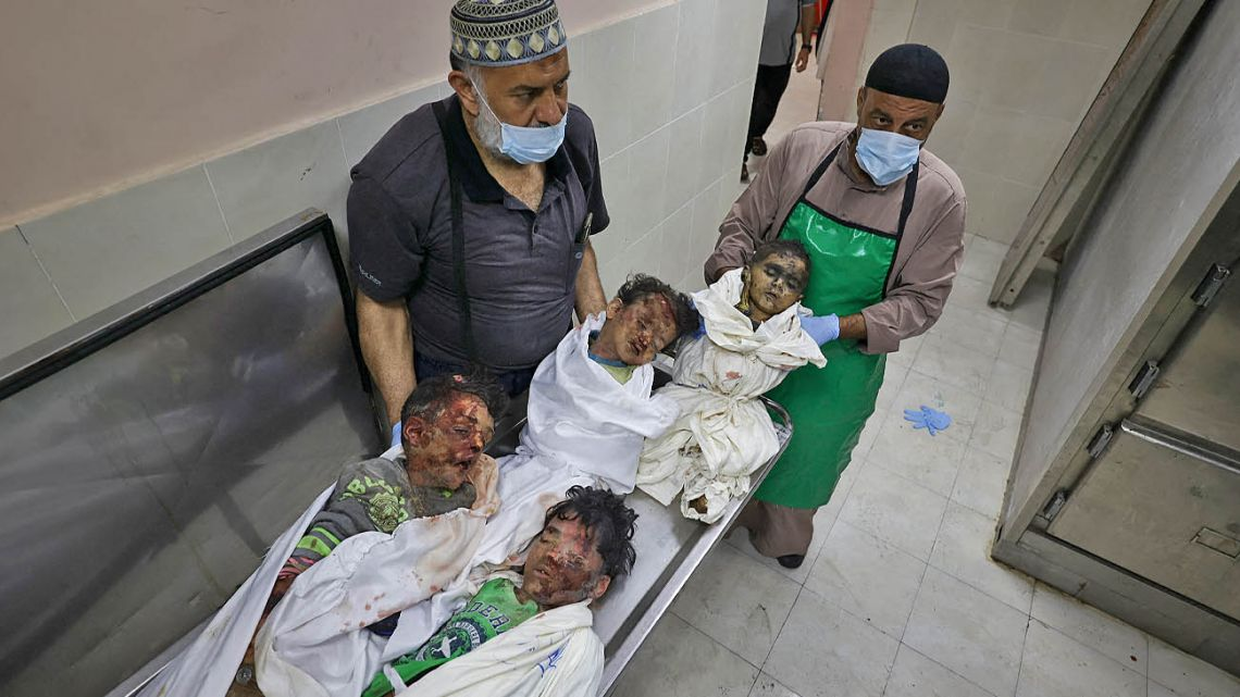 The bodies of four children, killed in a reported Israeli airstrike, at a hospital in Beit Lahya in northern Gaza strip.