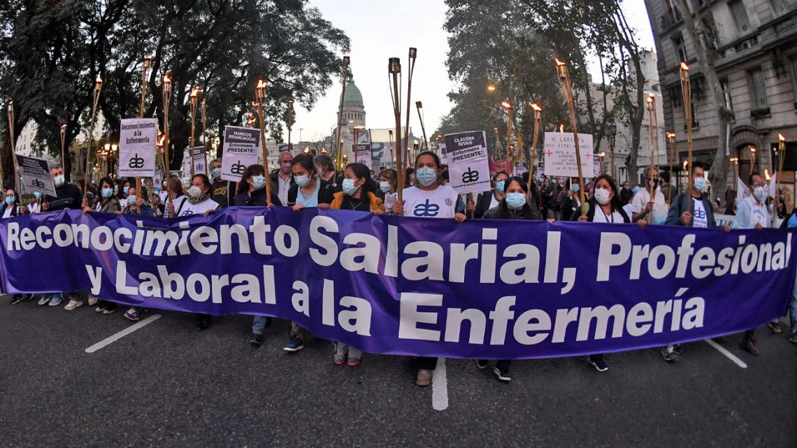 Nurses march in Buenos Aires City demanding improved pay and working conditions.