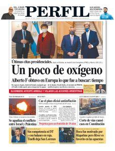 La tapa del Diario PERFIL de este sábado 15 de mayo de 2021.