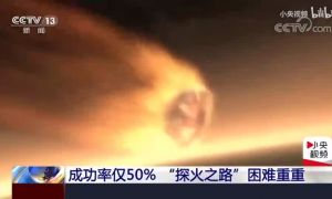 El robot chino Zhurong llegando a Marte. Un logro histórico para el gigante asiático.