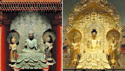 Reconstrucción. Arriba, el clon de Shaka (Sakyamuni), estatua ubicada en el templo Horyuji. Al lado, Masaaki Miyasako.