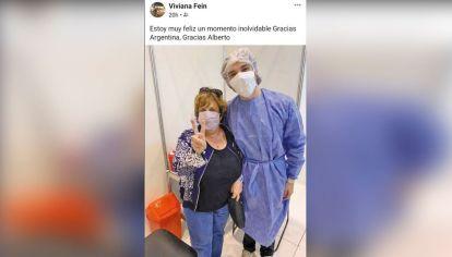 Viviana Fein. Mucha gente agradece a los políticos haber recibido su vacuna.