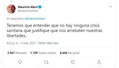 Expresarse. El ex presidente Macri prefirió opinar por la red del pajarito.