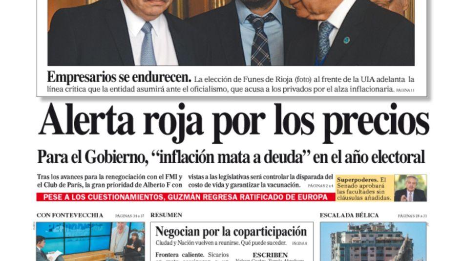 La tapa del Diario PERFIL de este domingo 16 de mayo de 2021.