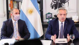 Alberto Fernández y el ministro Martín Guzmán.