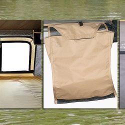 Ganchos, bolsillos y ventanas con mosquitero, detalles de una buena carpa.