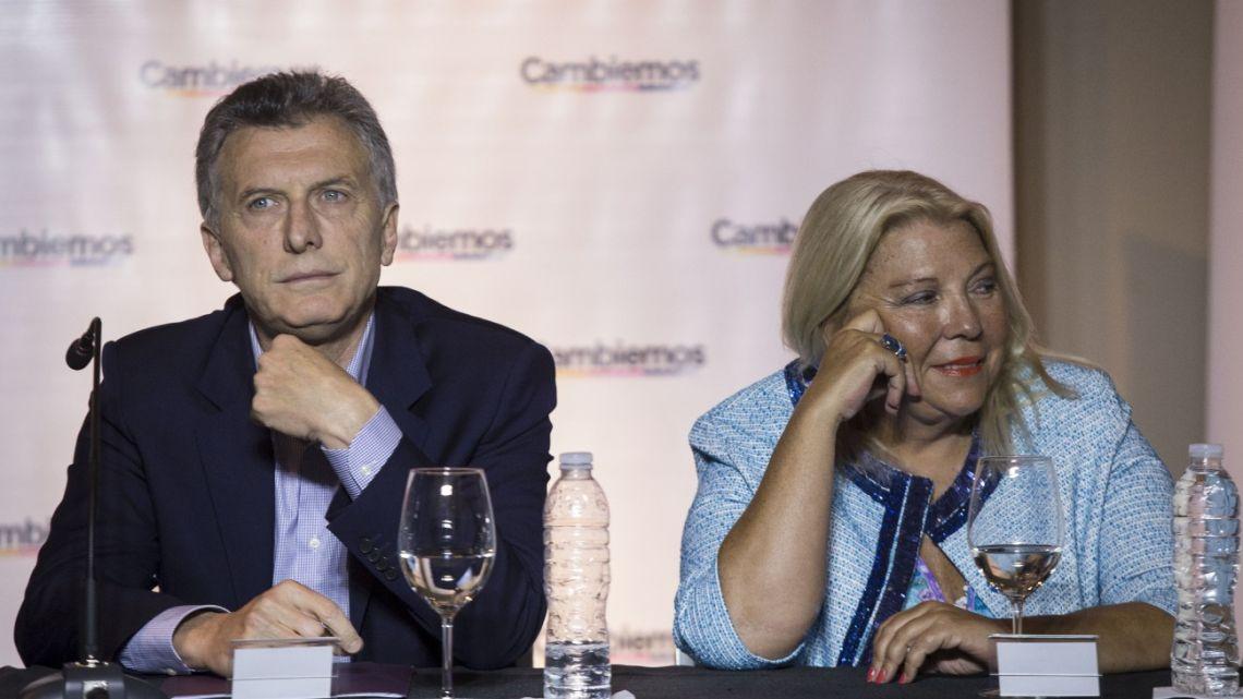 Mauricio Macri and Elisa Carrió, pictured in November 2018.
