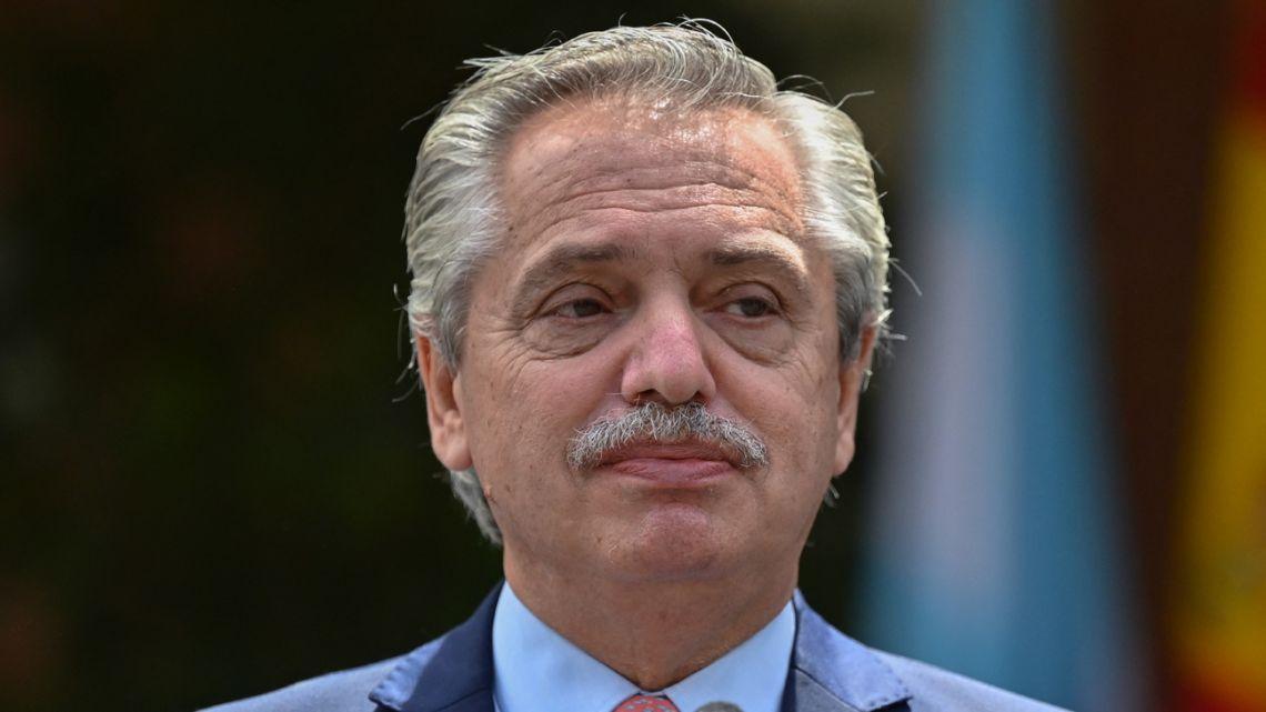 President Alberto Fernández poses outside the Moncloa Palace in Madrid on May 11, 2021, during his recent European tour.