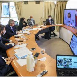 Alberto Fernández en videoconferencia.