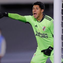 River Plate's emergency goalkeeper Enzo Pérez, pictured during his side's Copa Libertadores football tournament group stage match against Colombia's Independiente Santa Fe at the Monumental in Buenos Aires, on May 19, 2021.