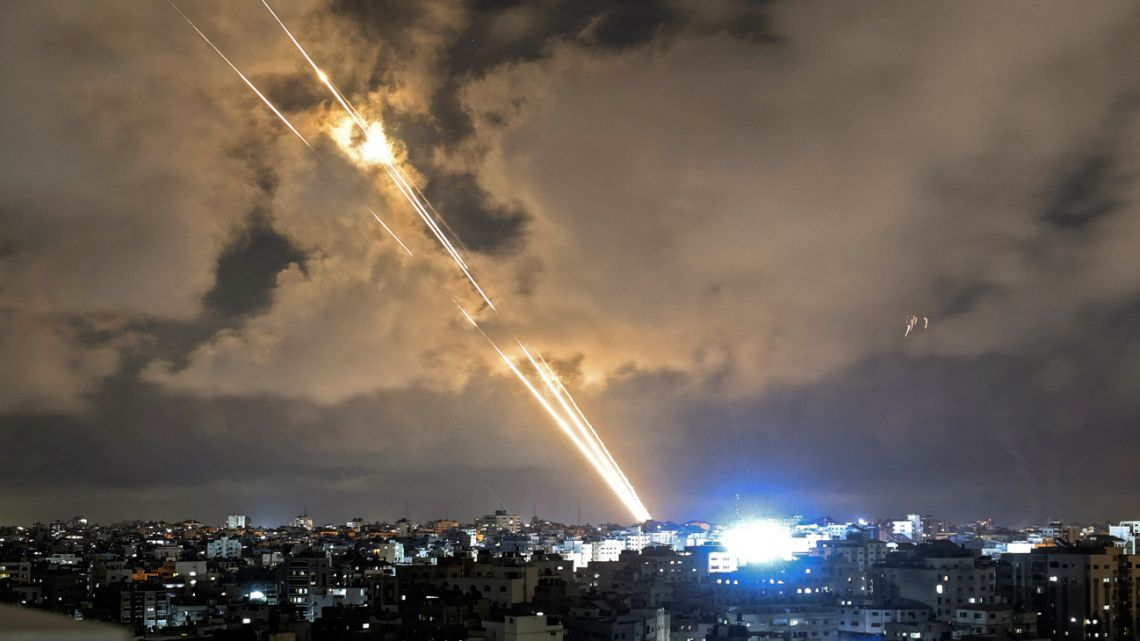 Rockets are launched towards Israel from Gaza City, controlled by the Palestinian Hamas movement, on May 20, 2021 Diplomatic efforts gathered pace for a ceasefire on the 11th day of deadly violence between Israel and armed Palestinian groups in Gaza, as air strikes again hammered the enclave.