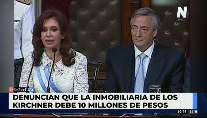 la inmobiliaria de los Kirchner debe 10 millones de pesos