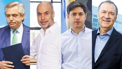 Diferencias. Fernández, Larreta, Kicillof y Schiaretti ejecutan políticas comunicacionales muy distintas con el covid. Y tienen fallas.