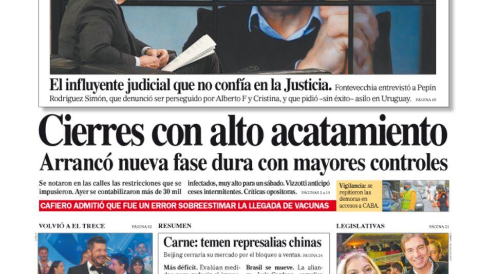 La tapa del Diario PERFIL del domingo 23 de mayo de 2021.