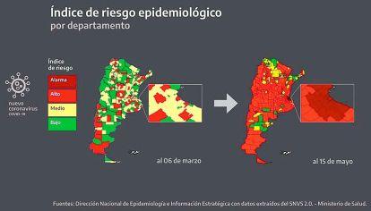 Mapa sanitario del país. Son 186 los aglomerados urbanos en zona de alto riesgo o alarma.