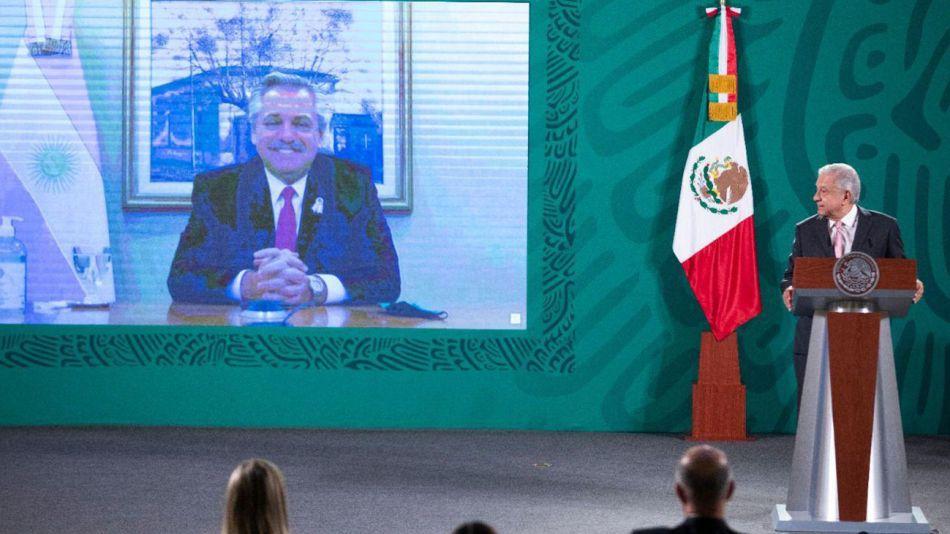 Alberto Fernández en videoconferencia conjunta con su par de México, Andrés Manuel López Obrador