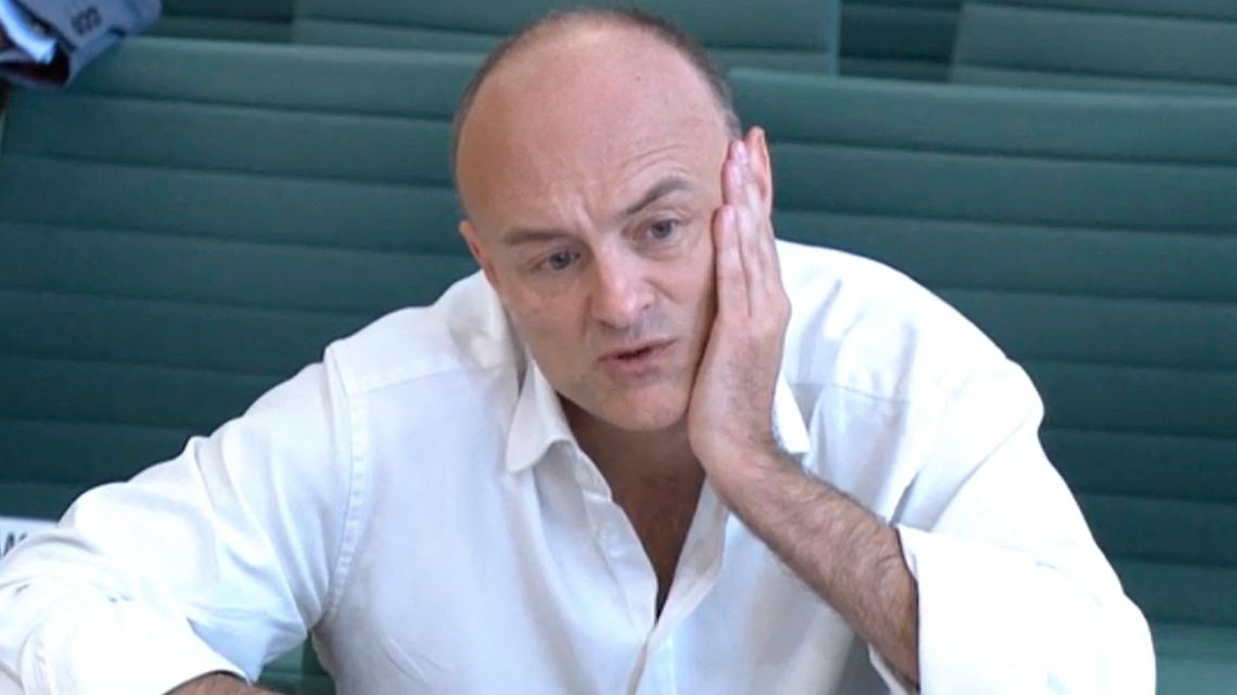 A video grab from footage broadcast by the UK Parliament's Parliamentary Recording Unit (PRU) shows former number 10 special advisor Dominic Cummings speaking at a committee hearing in Portcullis house in London on May 26, 2021. Dominic Cummings, British Prime Minister Boris Johnson's controversial former top aide and architect of Brexit, is set to take aim at the government today during a marathon grilling from lawmakers.
