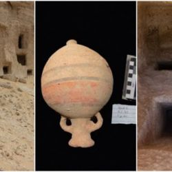 Los arqueólogos también descubrieron una amplia y variada cantidad de vasijas de cerámica