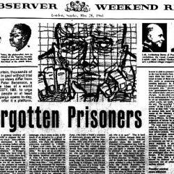 """Artículo """"Los presos olvidados"""", en el periódico británico London Observer."""