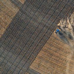 En una vista aérea, un tractor levanta polvo mientras ara un campo seco en Madera, California. A medida que California entra en una emergencia de sequía extrema, el agua comienza a escasear en el Valle Central de California, una de las regiones agrícolas más productivas del mundo.   Foto:Justin Sullivan / Getty Images / AFP
