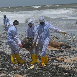 Soldados de la Armada de Sri Lanka trabajan para retirar los escombros arrastrados a la costa del buque portacontenedores MV X-Press Pearl registrado en Singapur, que ha estado ardiendo por octavo día consecutivo en el mar frente al puerto de Colombo de Sri Lanka, en una playa de Colombo. | Foto:Lakruwan Wanniarachchi / AFP