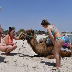 Turistas controlan camellos en la playa en la localidad mediterránea de Susa. - Con su economía fuertemente golpeada por la pandemia, Túnez cuenta con rusos y europeos del este para salvar su sector turístico cuyos empleados temen al hambre más que al COVID-19. | Foto:Fethi Belaid / AFP