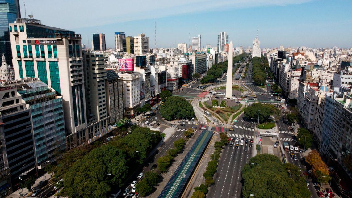 Avenida 9 de Julio, pictured during the coronavirus pandemic on May 27, 2021.