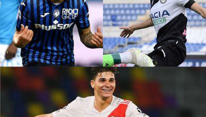 Cordobeses y debutantes. Cristian Romero (Atalanta), Nahuel Molina (Udinese) y Julián Álvarez (River)