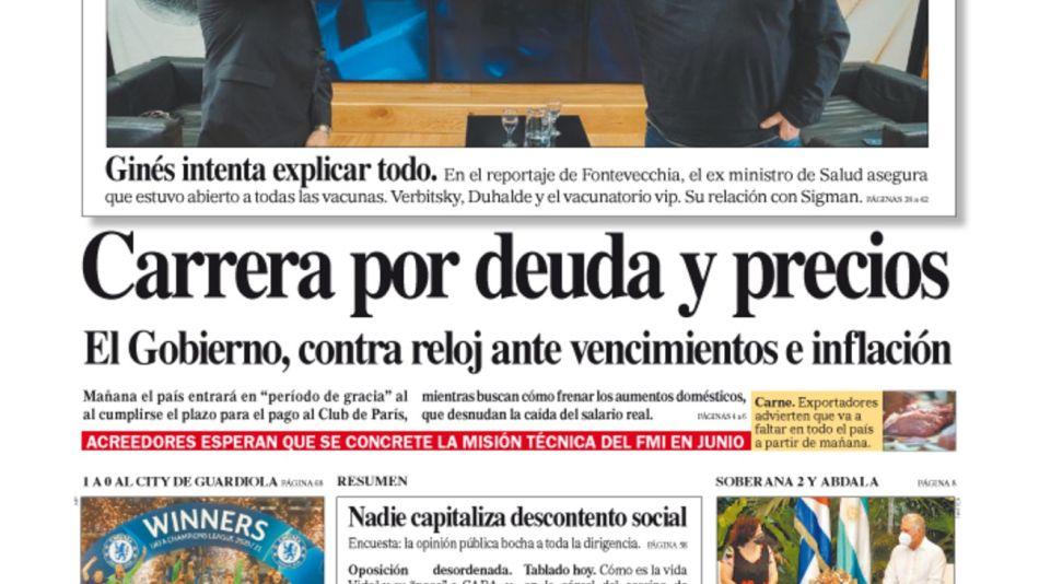 La tapa del Diario PERFIL del domingo 30 de mayo de 2021