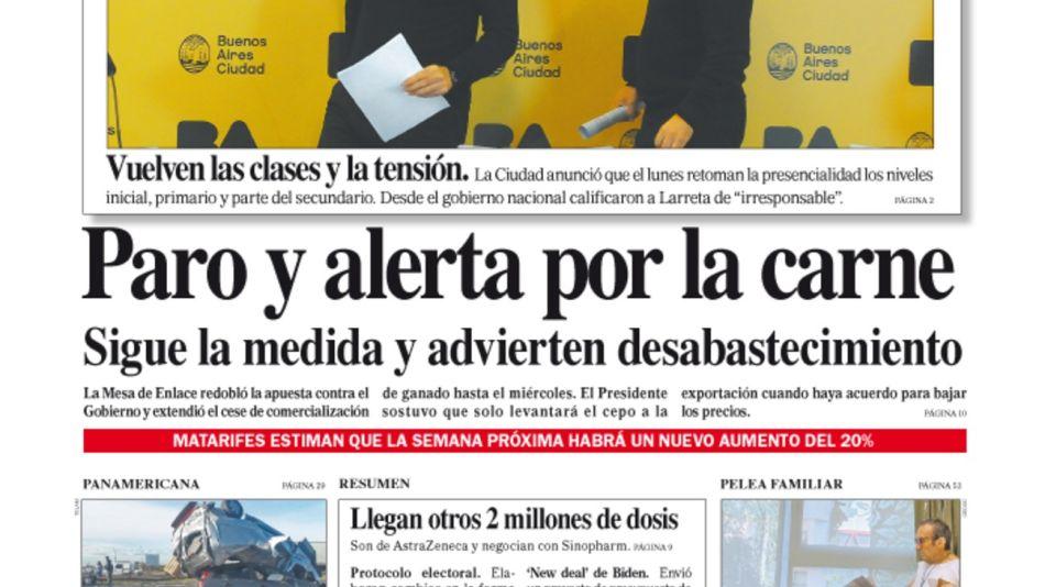 La tapa del Diario PERFIL del sábado 29 de mayo de 2021.
