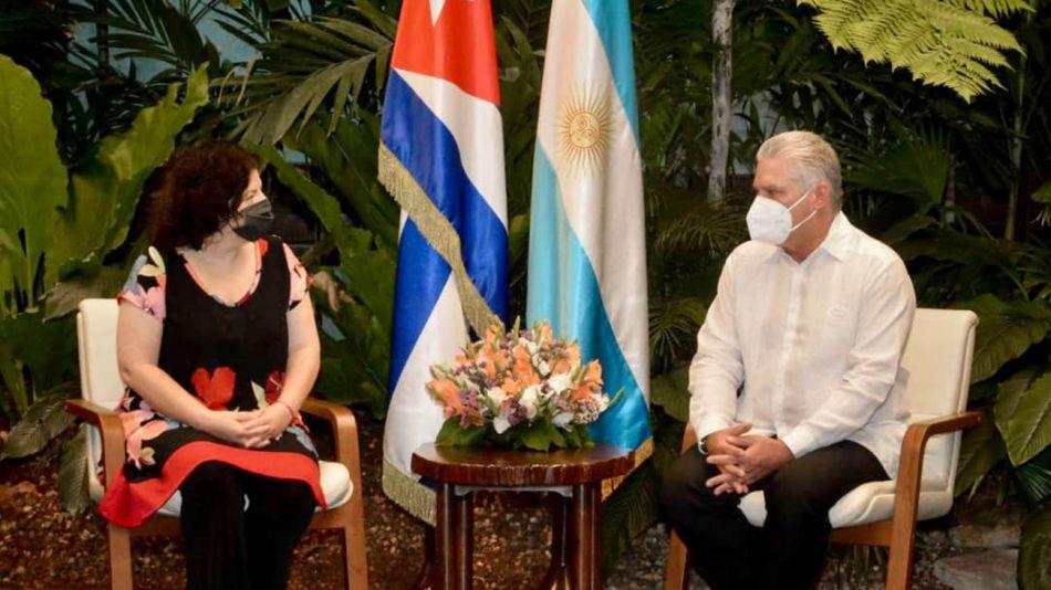 Vizzotti se reunió en La Habana con el presidente de Cuba, Miguel Díaz Canel Bermúdez.