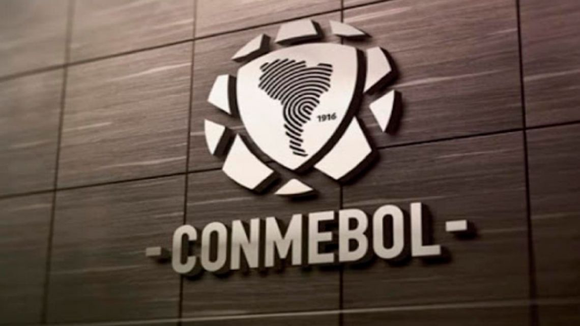 A CONMEBOL sign at the headquarters offices in Asunción, Paraguay.