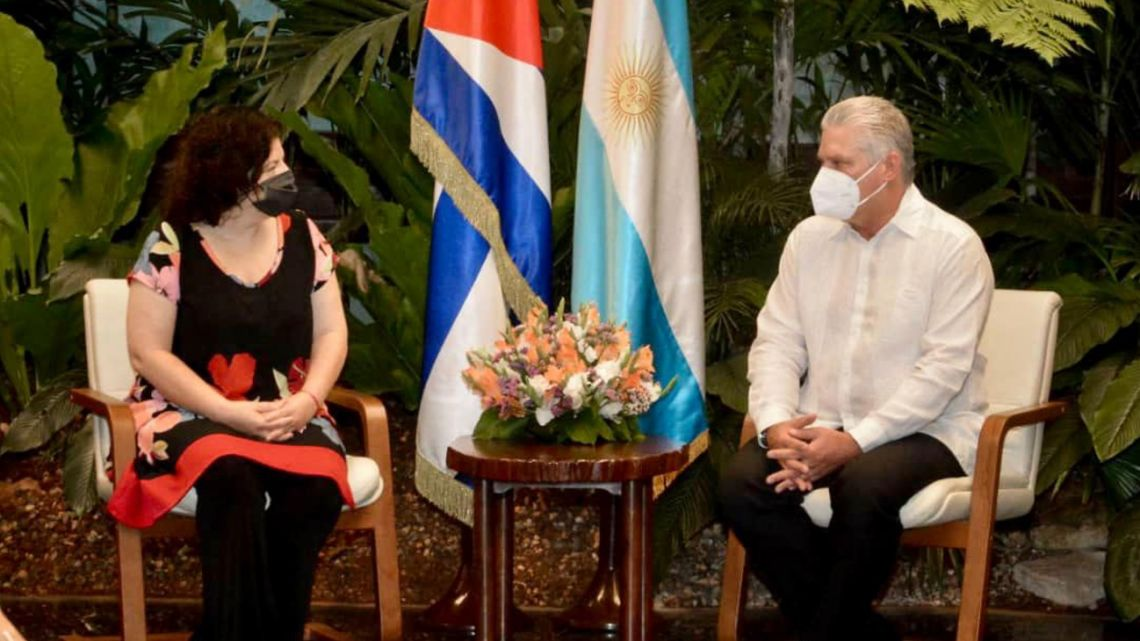 Health Minister Carla Vizzotti (left) meets with Cuban President Miguel Díaz-Canel Bermúdez, during a visit to Havana to learn more about two Cuban Covid-19 vaccines in development called Soberana02 and Abdala.