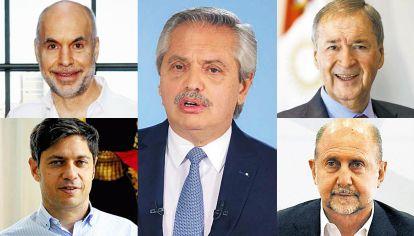 Los que gobiernan. Fernández, Rodríguez Larreta, Kicillof, Schiaretti y Perotti gestionan también los mensajes oficiales pandémicos.