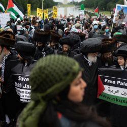 Los partidarios de Palestina celebran una manifestación en el Lincoln Memorial en el National Mall en Washington, DC. - Más de 1.000 se manifestaron en apoyo de los palestinos y pidiendo el fin de la ayuda estadounidense a Israel.   Foto:Andew Caballero-Reynolds / AFP