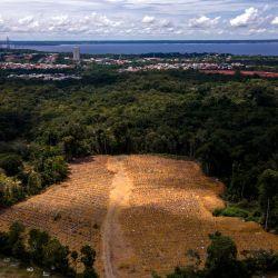 Vista aérea del cementerio de Nossa Senhora Aparecida, donde están enterradas las víctimas del COVID-19, en Manaos, Brasil. | Foto:Marcio James / AFP
